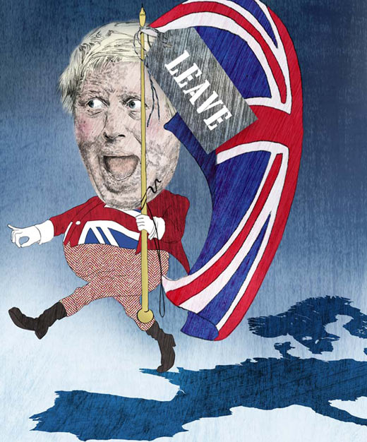 Illustration Boris Johnson mit UK Flagge verlässt Europa