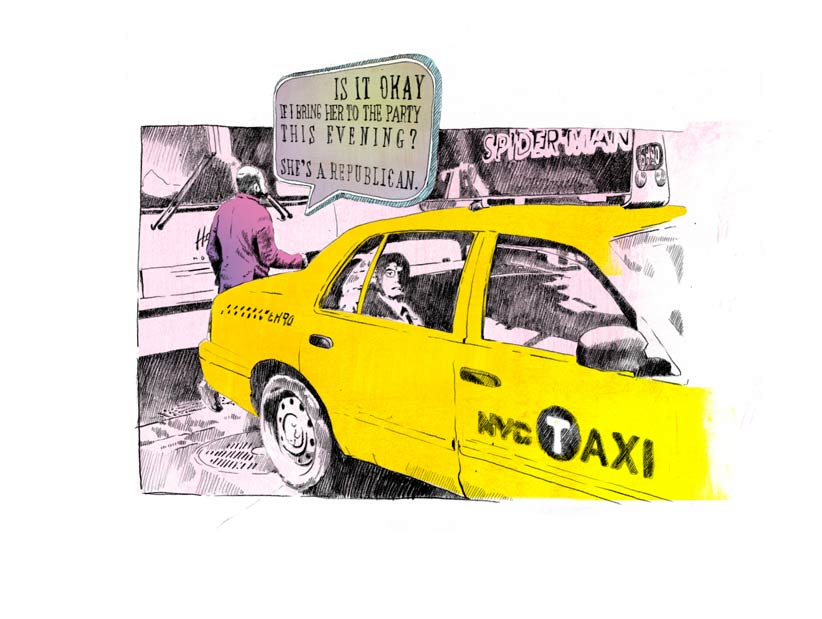 Illustration Taxi NY New York Sprechblase Speechbubble