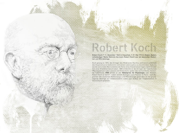 Portrait Illustration von Robert Koch