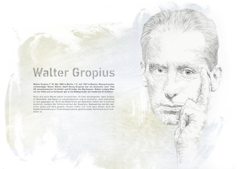 Portrait Illustration von Walter Gropius