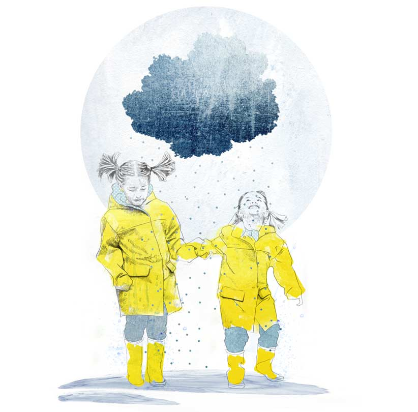 Illustration Kinder mit Regenmantel im Regen